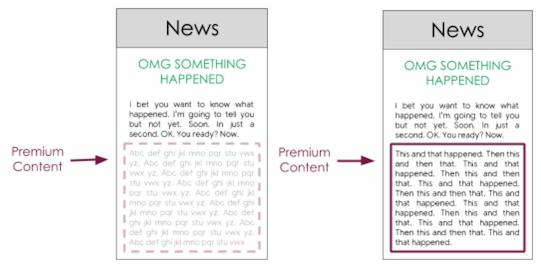 Premium content is hidden until users are authenticated.