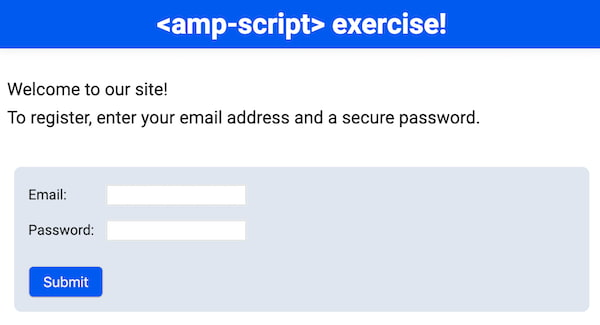 Web form with email and password inputs