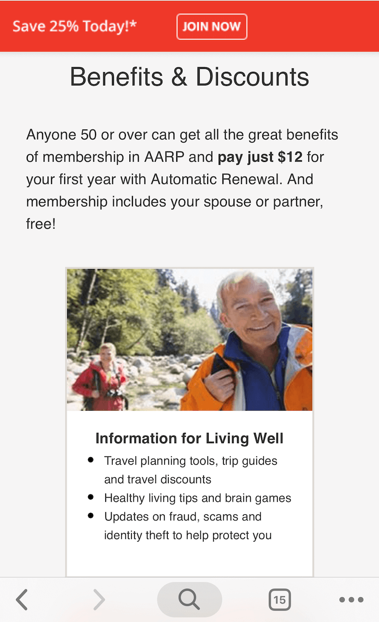 Screenshot of AARP on mobile